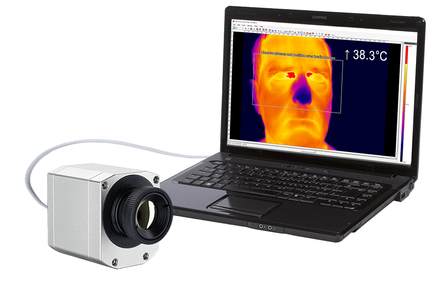 IR camera optris PI 450i with laptop for fever screening